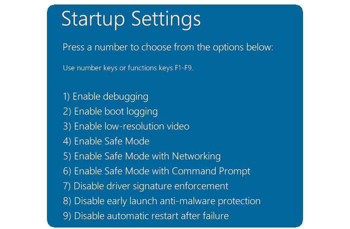 Windows 8 Startup Settings