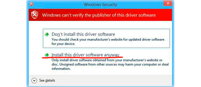 Install driver anyway